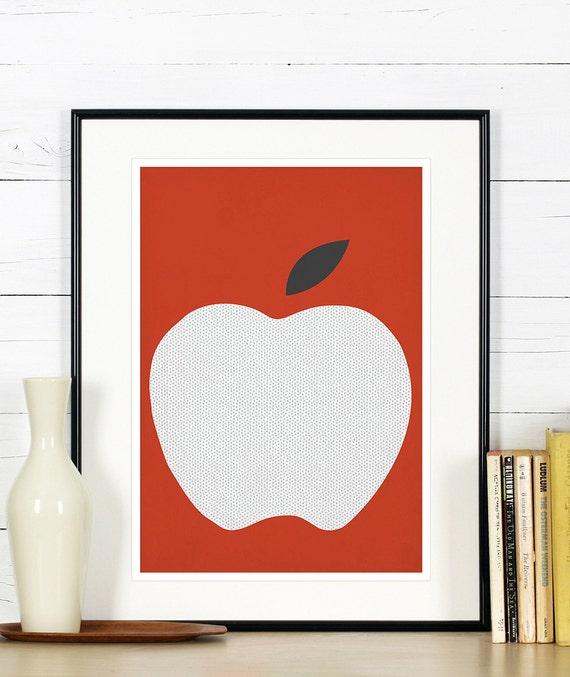 obst retro poster küche kunst roter apfel minimalistisches - Poster Für Küche