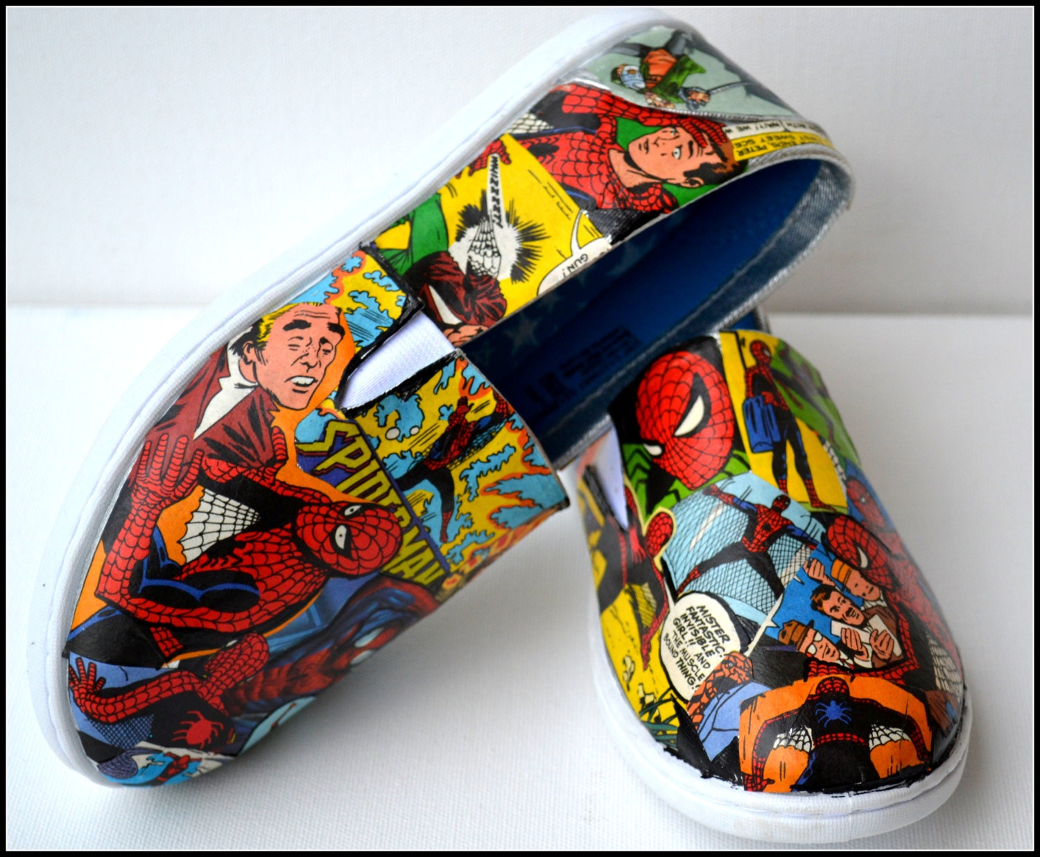 Made To Order Shoes Custom Spiderman Shoes Comic Book Shoes
