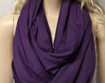 Eggplant Purple GORGEOUS  Infinity Scarf SUPER Soft Knit Gift Ideas