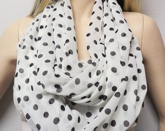 White & Balck Polka Dots--  Infinity Scarf Classic Timeless Womens Accessories Gift idea