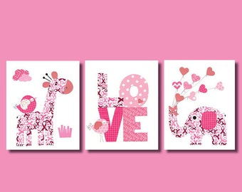 Elephant Love Hearts Print for Breast Cancer Awareness Nursery Artwork Print Baby Room Decoration Kids Room Gifts Under 20 wall art