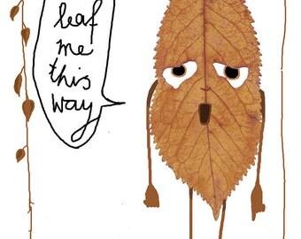 leaf postcard don't leave me