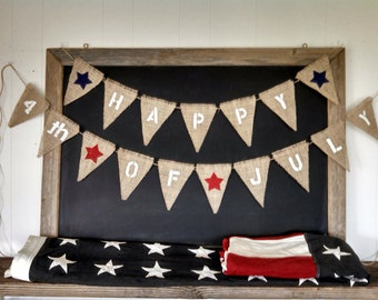 Happy 4th of July Burlap Banner StarsTriangle Flag Pennant Bunting Americana Red White Blue Patriotic Party Sign