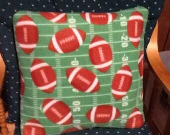 Hand-made Fleece Football  print throw pillow