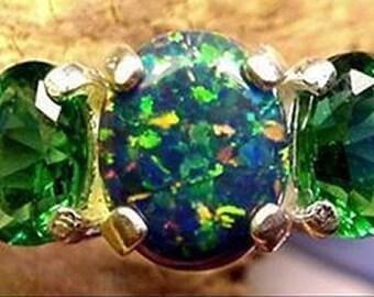 Mt St Helens Helenite BLACK/Multi Opal 3 gem Ring sz 8 USA Sterling silver