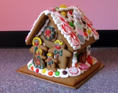 LARGE Christmas Gingerbread House / Entirely Edible / Colorful Holiday Gift Decoration / Table centerpiece / Boy Girl Tree Cookies / Party