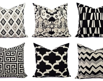 Two Black Decorative Pillow Covers - Black and Beige Pillows - 18 x 18 inches Ikat Throw Pillow - Black Cream Cushion Cover Accent Pillow