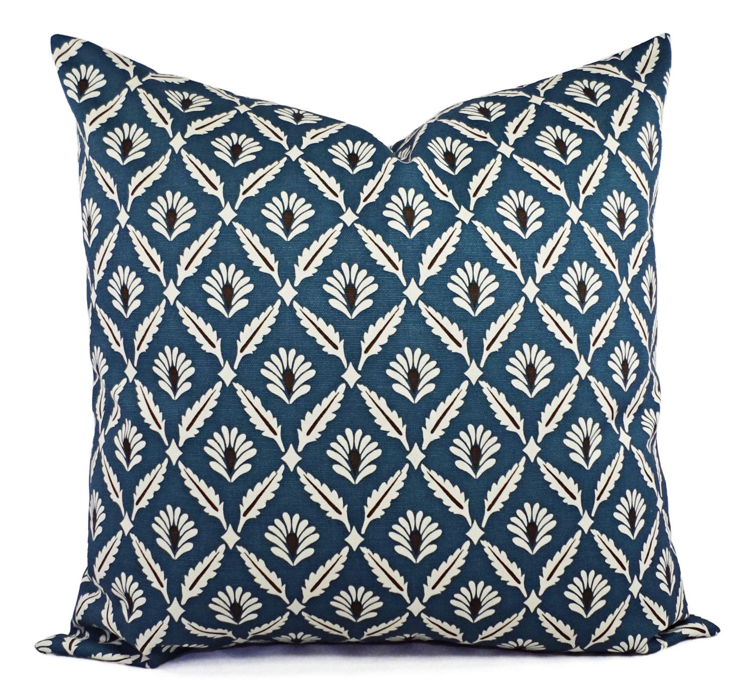 Decorative Pillows Blue : Two Decorative Pillow Covers Blue and Beige Blue Throw