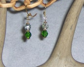 Czech Fire Polish Glass Crystal and Green earrings with Gold plated wires