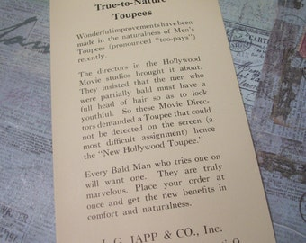 1920's J.G. Japp & Co., Inc True to Nature Toupees Brochure
