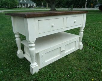 Beautiful Distressed Antique White Kitchen Island / Sideboard / Buffet