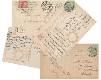 Steampunk Blank vintage style Postcards Digital Images for card making or Crafts