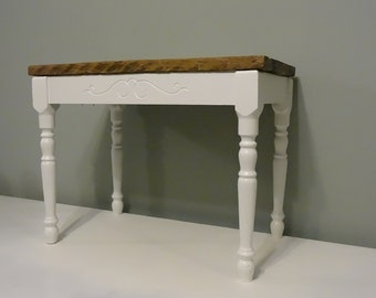 Reclaimed Wood Bench with White Base - Upcycled Piano Bench with Barn Wood Top - Modern Rustic Furniture - Porch Bench