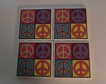peace coasters - set of 4