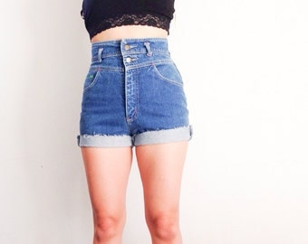 Women's vintage high waisted shorts with studded cross
