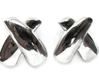 "Large Vintage Silvertone  ""Hugs and No Kisses""   Rhodium Finished  Earrings"