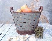 Small Rustic Metal Olive Bucket,Old Handmade bucket,Rustic Storage,Decorative Basket