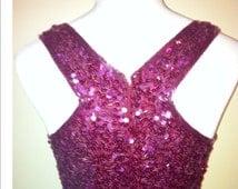 LAURENCE KAZAR VINTAGE evening gown saks fifth avenue body conscious raspberry sequined ball gown unique back vutaway design vintage gown