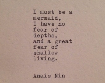 Anais Nin Mermaid Quote Typed on Typewriter