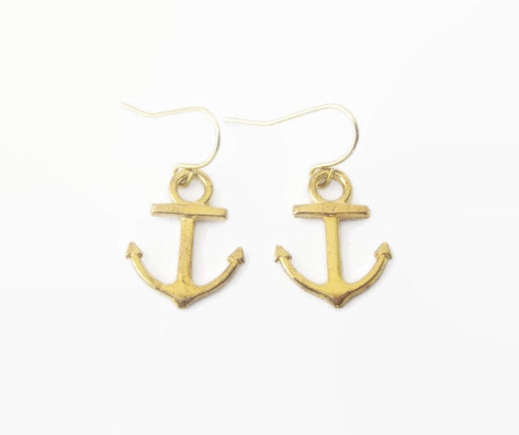 gold anchor earrings nautical jewelry by discolemonadedesigns