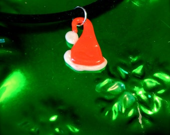Glass Santa Hat Necklace