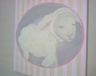 lamb art for girls, pink stripe, soft colors, elegant wall decor, feminine nursery, sheep