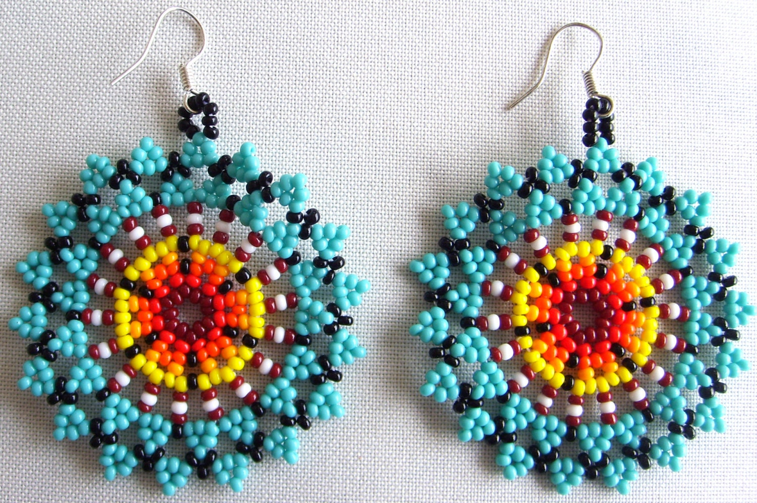 Mexican Huichol Beaded Flower Earrrings