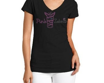 Rhinestone PINK ZEBRA Shirt