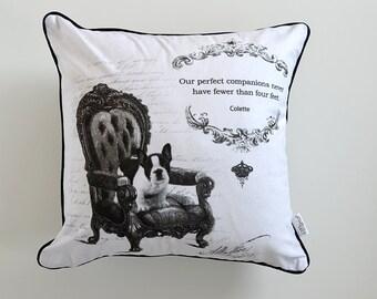 French bulldog cushion cover- puppy pillow- dog decorative cushion- black and white cushion- damask cushion - dog lover gift- dog