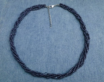 Blue Crystal and Seed Bead Necklace  Vintage Jewelry Vintage Necklace