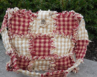 Primitive Rustic Red & Tan Wooden Bottom Rag Quilt Purse (( Large-Ready Made-Ready to Ship))