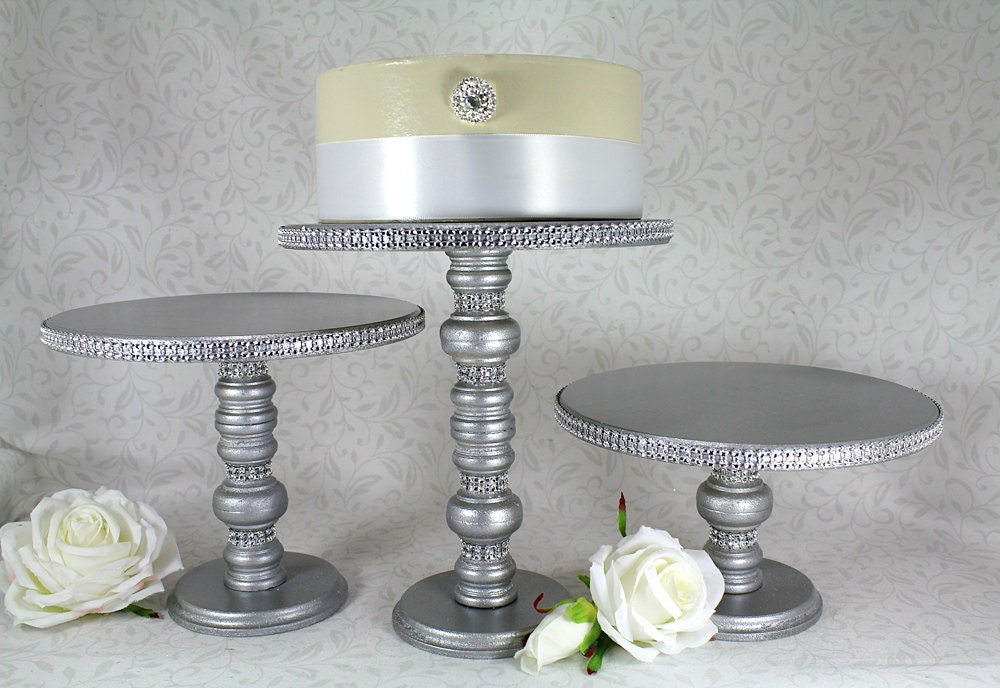 wooden wedding cake stand ireland 3 silver cake stands set wooden amp by dazzlinggrace 27603