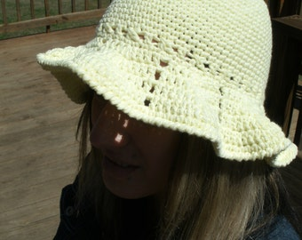 Summer Beach Hat Spring Bonnet Ladies  Cotton Yellow Pink