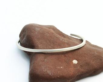 Silver cuff bracelet. Sterling silver cuff bangle bracelet. Simple, handmade, modern, unique, minimalist square wire. Satin - matte - finish