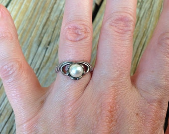 On Sale Pearl and Sterling Ring Size 6