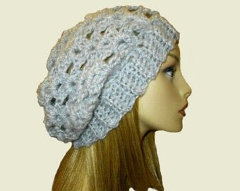 Slouchy Hat Beanie Crochet Beany Heather Grey Slouch Women Teen Knit Light Gray Spring Crochet Hat