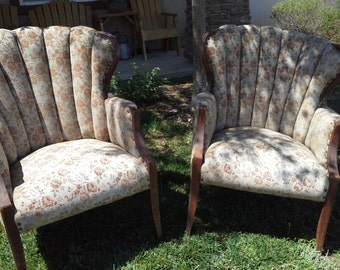 Antique Channel Back Chairs CUSTOM REUPHOLSTERED
