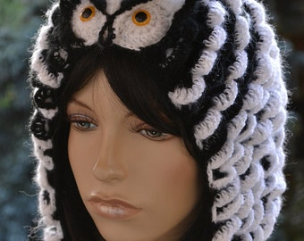 Crocheted  cap  Owl ;o) Colour white,black ,    Accessories Autumn,unique gifts,women stylish