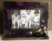 """Upcycled Purple Picture Frame  4"""" x 6"""" Embellished with Vintage Buttons and a Black Satin Bow"""