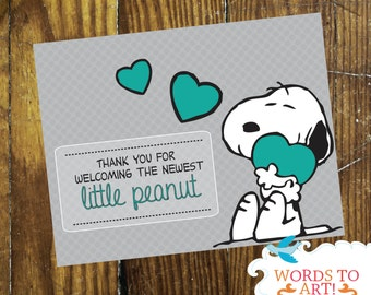 INSTANT DOWNLOAD |  Snoopy Matching Thank you Cards