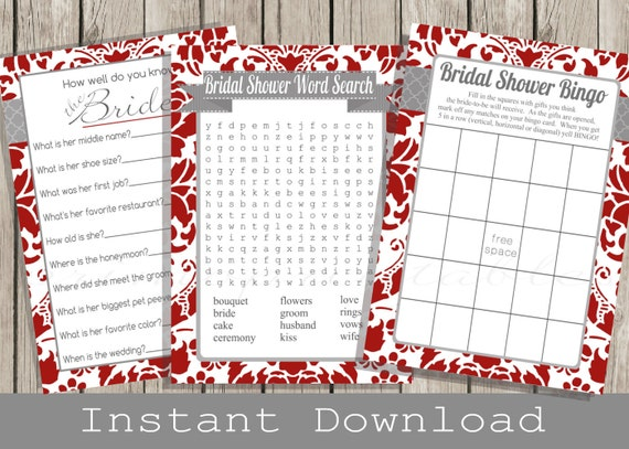 Red BRIDAL Shower Games Set / Bingo, Word Search, How Well