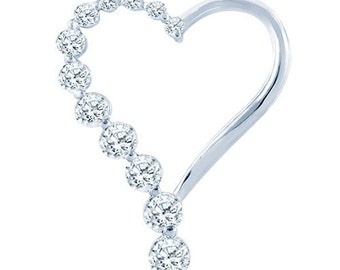 Sterling Silver Spectacular Heart Shaped Fashion Pendant with Diamonds G-H I2-I3