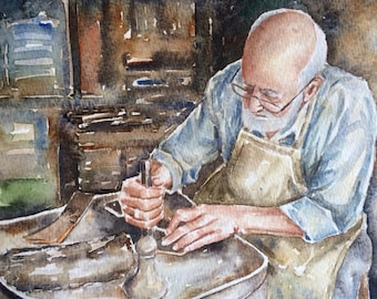 Original watercolor painting old man figure,gift for man,wall decor