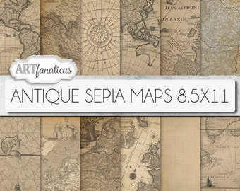 "Digital maps 8.5x11 digital paper, ""ANTIQUE SEPIA MAPS 8.5x11"" backgrounds,sepia, vintage map, world map, America, Europe, Asia, Australia"