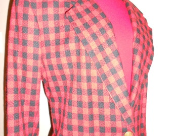 SALE:  80's Red and black checkered blazer