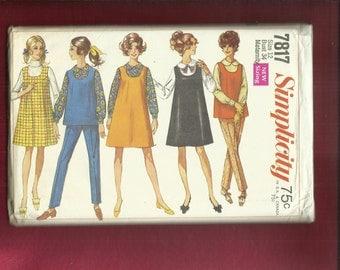 Vintage 1968  Simplicity  7817 Retro Maternity Jumper Top Peter Pan Blouse & Pants Size 12