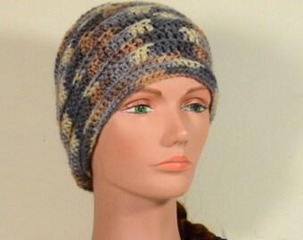 Hat Crochet, Ivory, Gray, Brown  Slouchy Hat, Crochet Hat -Womens Hat