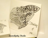 Thinking of you - 5 pack blank note cards - Zentangle inspired Butterfly, doodle, zenspiration