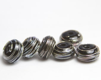 Lampwork Glass Spacer Beads - Black with Silver Luster Stripes