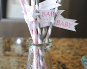 ON SALE 60 paper straws and paper straw flags (you choose style colors and wording)